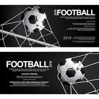 Fußball-fußball-plakat-vektor-illustration mit zwei fahnen