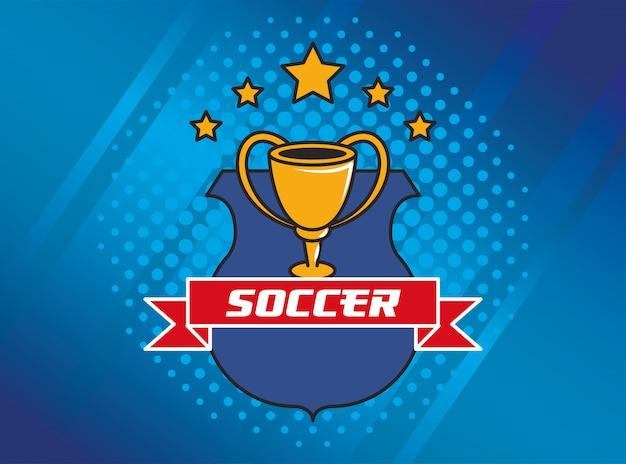 Fußball fußball sport mit trophäenpokal auszeichnung