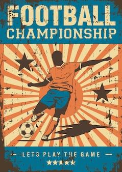 Fußball-fußball-sport-retro pop-art-plakat signage Premium Vektoren
