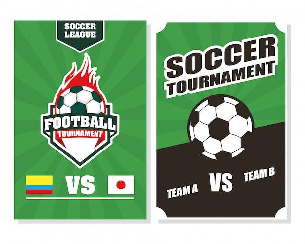 Fußball-fußball-sportplakat mit luftballons in flammen