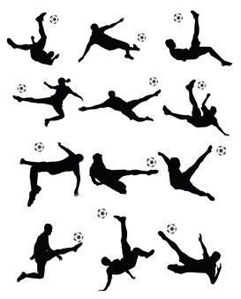 Fußball, fußballspieler-superkick auf weißem hintergrund