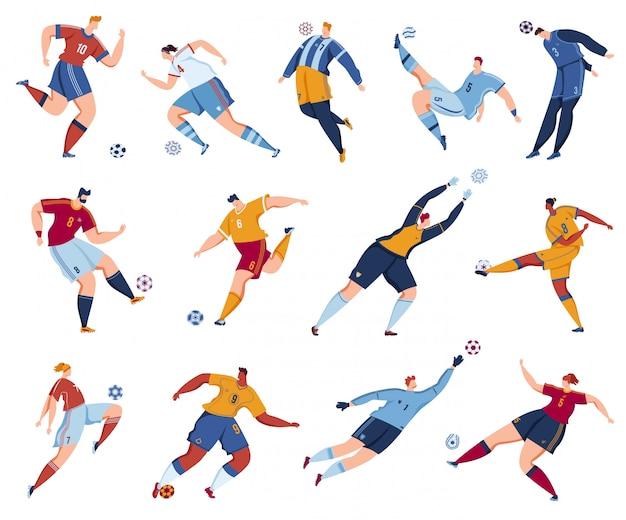 Fußball-fußballspieler-vektorillustrationssatz.