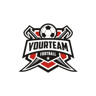 Fußball-fußballverein-emblem-abzeichen logo-design mit schwert