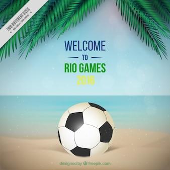 Fußball-hintergrund mit palmblättern