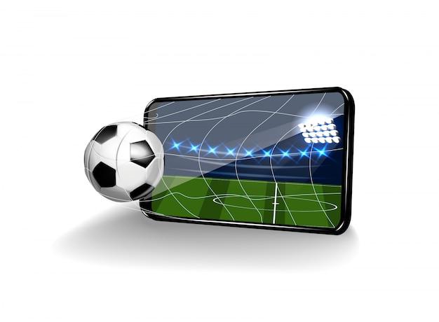 Fußball im tor in form eines handys auf weißem hintergrund.