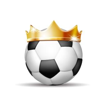Fußball in goldener königskrone. erfolgskonzept im fußballsport. fußball - könig des sports. vektor-illustration isoliert auf weißem hintergrund.