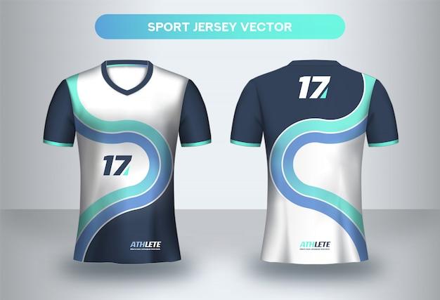 Fußball jersey entwurfsvorlage. corporate design, fußballverein einheitliche t-shirt vorder- und rückseite.