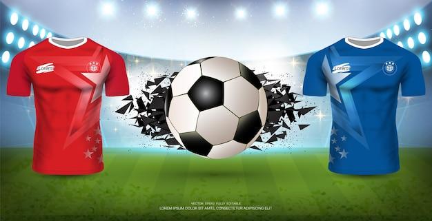 Fußball jersey mock-up team a gegen team b für sportveranstaltung