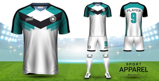 Fußball jersey und fußball-kit-präsentation mockup-vorlage