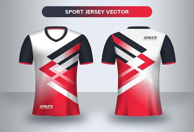 Fußball jsersey-schablone, vorder- und rückansicht des fußballvereinuniform-t-shirts.