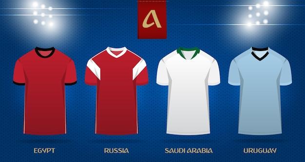 Fußball-kit oder fußball-jersey-template-design für wm 2018.