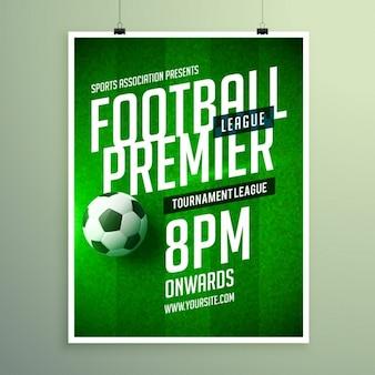 Fußball-liga broschüre, einladungsschablone