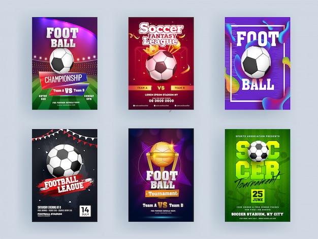 Fußball-meisterschafts-liga und fußball-turnier-schablonen- oder flieger-design eingestellt mit goldenem trophäen-cup, krone.