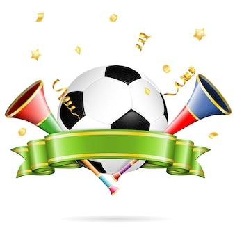 Fußball mit band und konfetti
