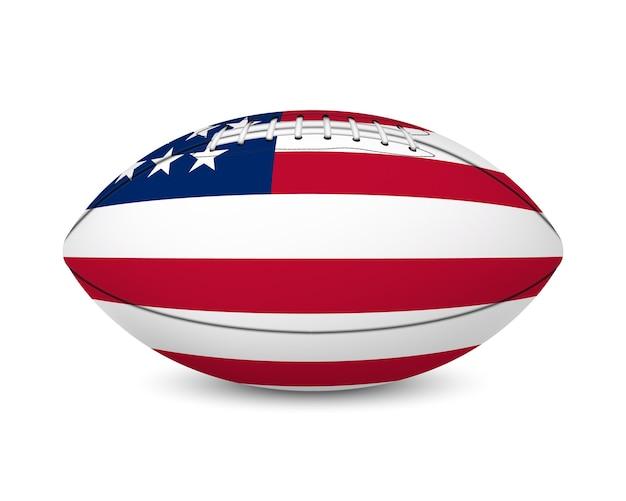 Fußball mit flagge der usa, lokalisiert auf weißem hintergrund.