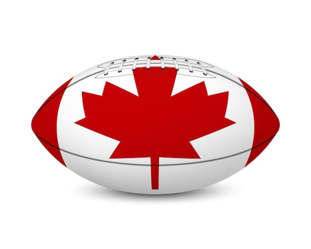 Fußball mit flagge von kanada, lokalisiert auf weißem hintergrund.