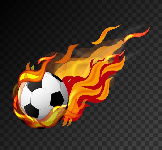 Fußball mit großer flamme, die auf schwarzem hintergrund schießt