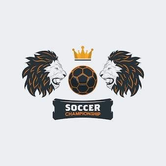 Fußball mit löwenkopf und krone - logo-vorlage