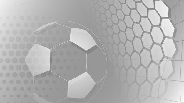Fußball- oder fußballhintergrund mit großem ball in grauen farben
