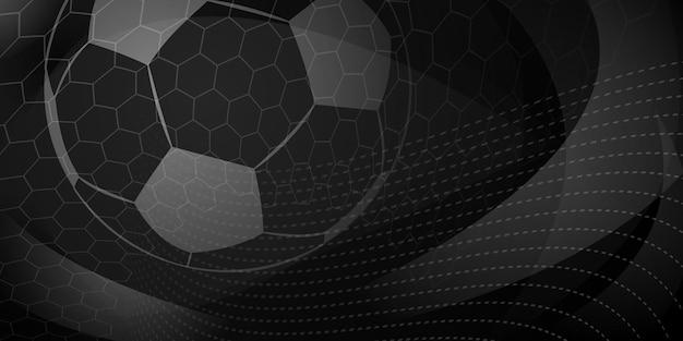 Fußball- oder fußballhintergrund mit großem ball in schwarzen farben