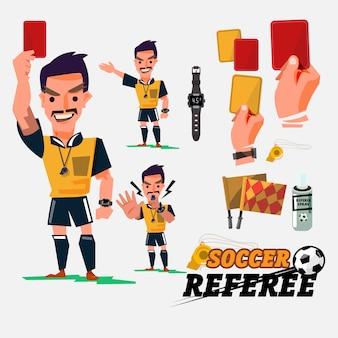 Fußball- oder fußballschiedsrichter mit kartenillustration