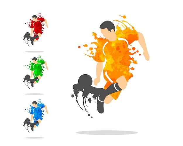 Fußball oder fußballspieler in einer aktion mit splash splat und aquarell