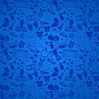 Fußball- oder fußballsport nahtloses muster mit flachem symbolsatz für flyer, poster, website wie schiedsrichter, ball und trophäe. vektor-illustration auf isoliertem hintergrund