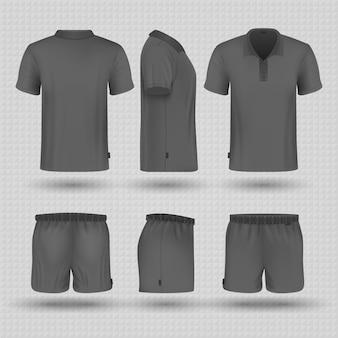 Fußball schwarze sportuniform. männliche shorts und t-shirt-modell mit vorder-, seiten- und rückansicht.