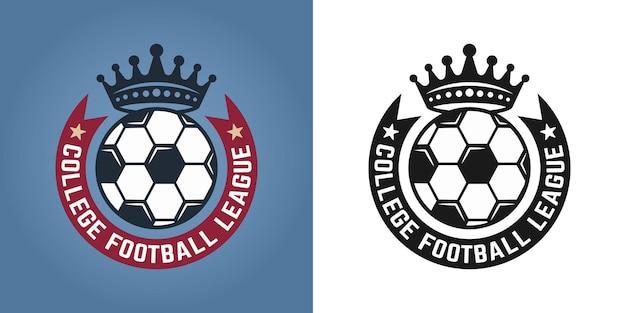 Fußball-set mit zwei stilen, emblemen, abzeichen, etiketten oder logos für die vektorillustration des sportteams