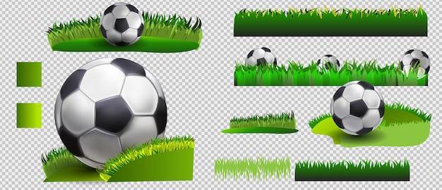 Fußball-set. vektorfahne des fußballs auf grünem gras und des fußballs lokalisiert auf weißem hintergrund. fußball auf dem feld