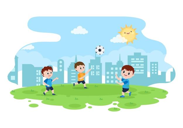 Fußball spielen mit jungen fußball spielen sportuniform verschiedene bewegungen wie treten, halten, verteidigen, parieren und angriff im feld. vektorillustration