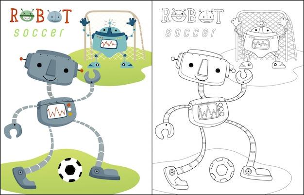 Fußball spielen mit lustiger roboterkarikatur