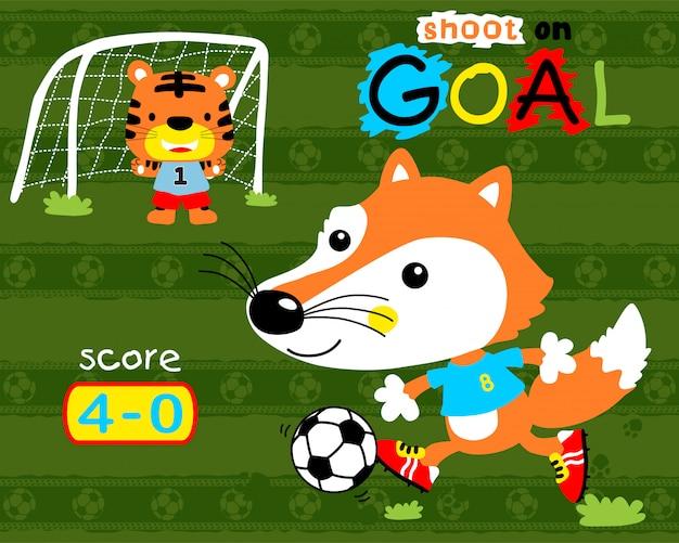 Fußball spielen mit tierkarikatur