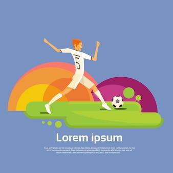 Fußball-Spieler-Athleten-Sport-Wettbewerb-bunte Fahne