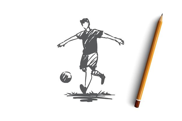 Fußball, spieler, fußball, spiel, aktionskonzept. hand gezeichneter fußballspieler in aktionskonzeptskizze. illustration.