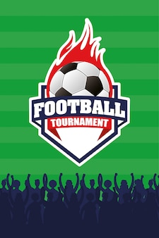 Fußball sport emblem poster mit ballon in brand