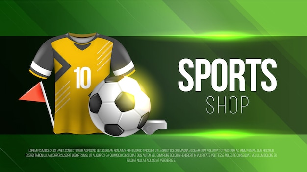 Fußball-sportgeschäftsschablone mit grünem hintergrund