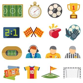Fußball trägt flache vektorikonen zur schau. fußballspiel symbole