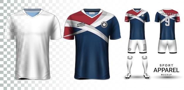 Fußball-trikot und fußball-kit-präsentationsmodell-vorlage