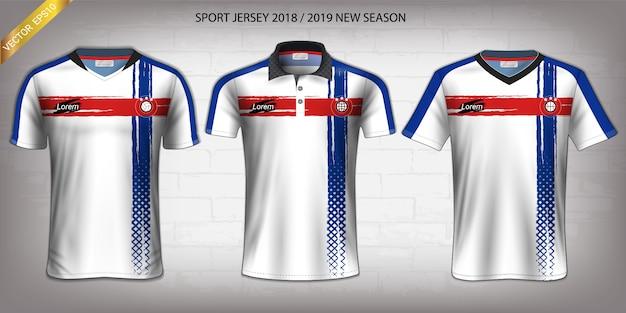 Fußball-trikot- und t-shirt-sportmodellschablone.