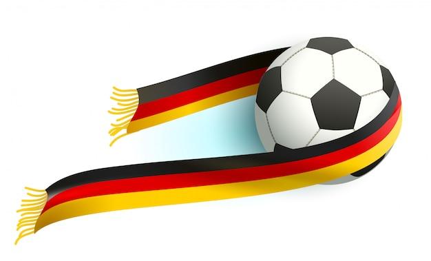 Fußball und deutscher fahnenschal unterstützen die fans