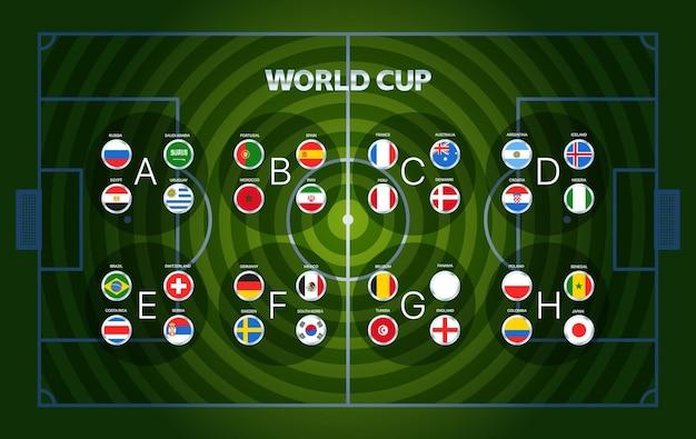 Fußball-weltmeisterschaftsgruppen. fußball-infografik-vorlage mit fußballfeld