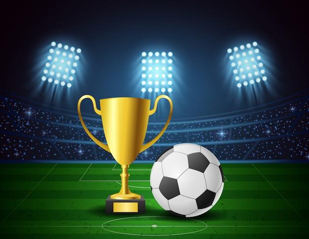 Fußballarena mit hellem stadiondesign und auszeichnungstrophäe. vektor-illustration