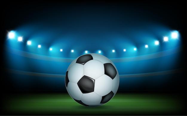 Fußballarena mit scheinwerfern beleuchtet