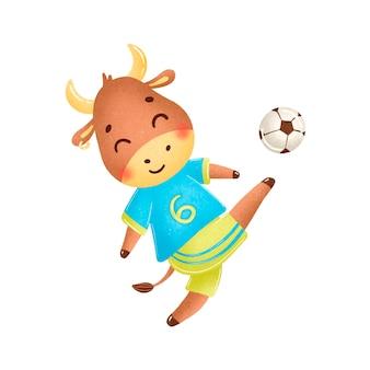 Fußballbulle lokalisiert auf weiß. fußballtiere.
