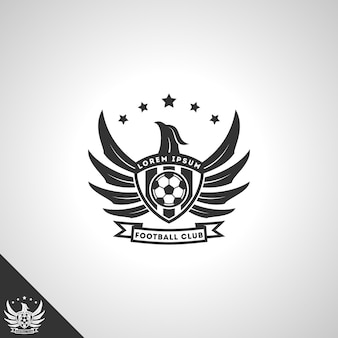 Fußballclub-logo-konzept mit mächtigem adlerstil