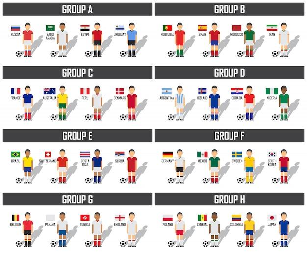 Fußballcup 2018 team gruppenset. fußballspieler mit trikot uniform und nationalflaggen