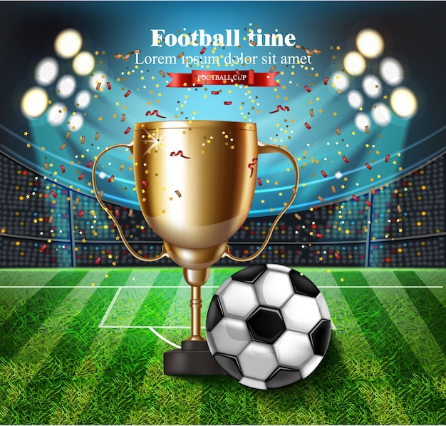 Fußballcup auf stadion mit lichtern