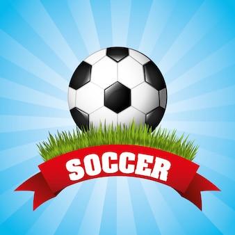 Fußballdesign über blauer hintergrundvektorillustration
