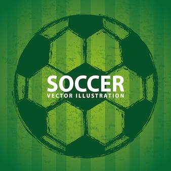 Fußballdesign über grüner hintergrundvektorillustration